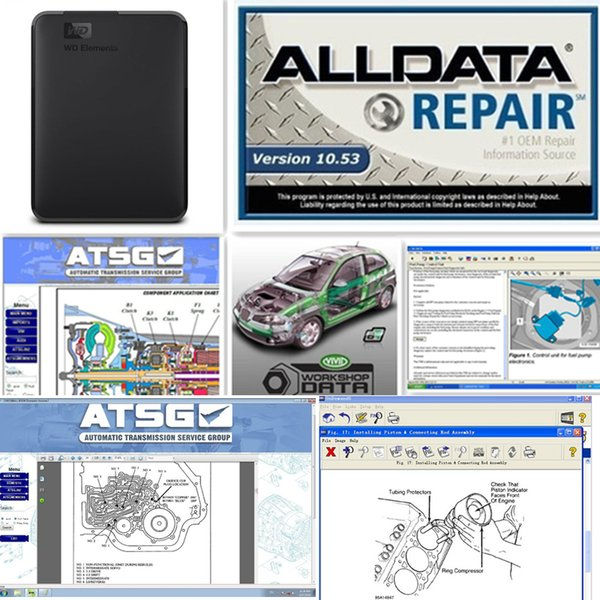 2019 Alldata newest V10.53 and Mitchell 2015 car repair data vivid workshop heavy truck 46 in 1tb new hdd for car & truck