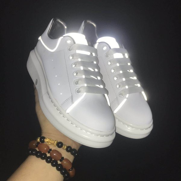 High version 2019 autumn new MQ white shoes mens and women's shoes reflective thick leather Joker increased leisure sports shoes r05