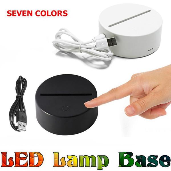 RGB luzes led 3D Interruptor de Toque Base de Lâmpada para Ilusão 3D Lâmpada 4mm Acrílico Painel de Luz 2A Bateria ou DC 5 V USB