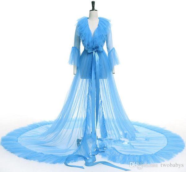 Seks Fildişi Kadın Ceketler Pijama See Through gelinlik Düğün gecesi elbise photosession için özel artı boyutu gelin elbiseler