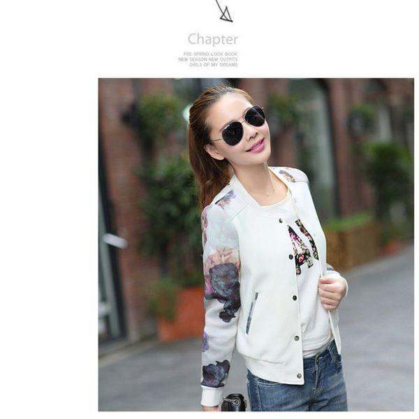 Liva Girl Women Jacket Brand Tops Flower Print Girl Casual baseball Zipper Bomber Button Thin Bomber Long Sleeves Coat Jackets