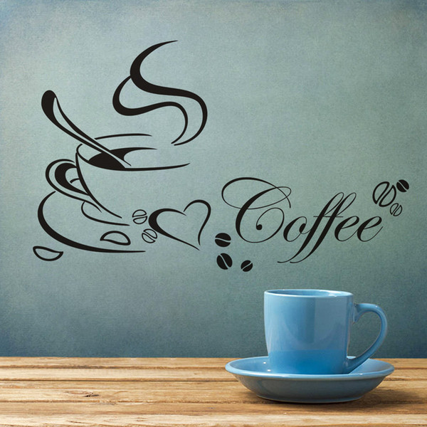 Cross-border Explosion Coffee Cup Kitchen Restaurant Carved Wall Stickers Decorative Painting Environmentally Friendly Removable Free Postal