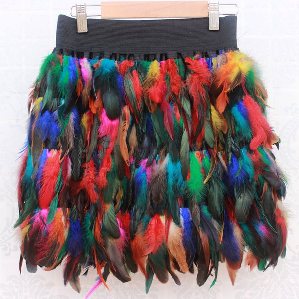 Women Runway Feather Skirt Sexy Elastic Waist Mini Party Event Plumage Skirt Multicolor Halloween Rooster Skirt Costumes