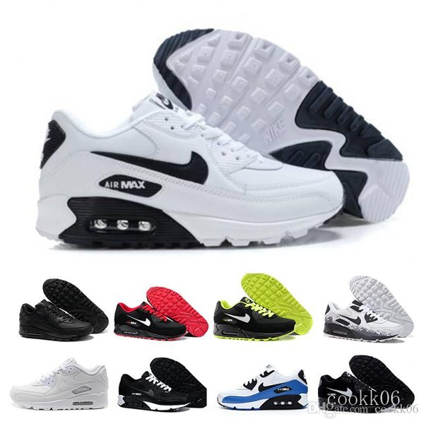top popular Men Sneakers Shoes Classic 90 Men and woman Shoes Sports Trainer Air Cushion Surface Breathable Sports Shoes 36-45 DG6RV 2020
