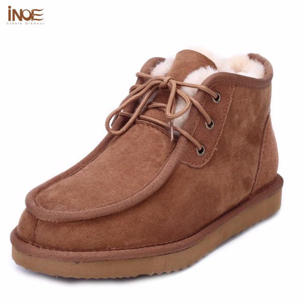 All'ingrosso-INOE Beckham stesso stile moda uomo stivali da neve signore scarpe invernali vera pelle di pecora pelle foderata appartamenti stivali di alta qualità