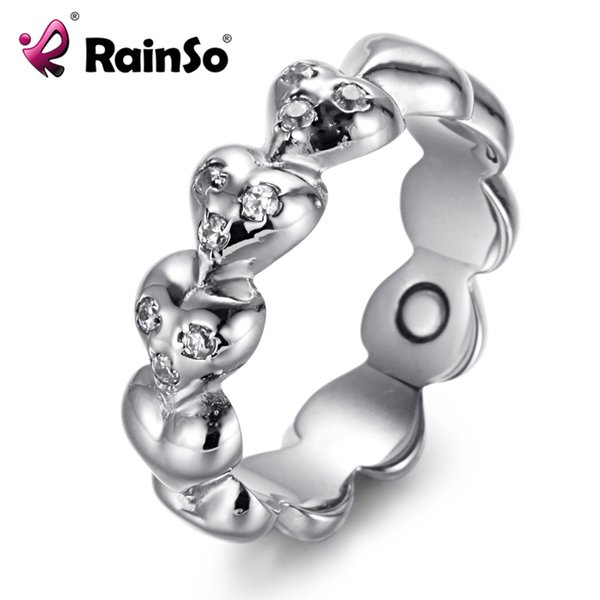 Rainso Magnetic Therapy Ring Heart Shining Crystal Healthy Women Jewelry Elegant Stainless Steel Bio Energy USA Size Lady Ring