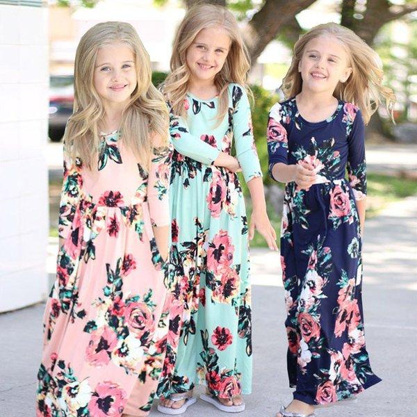 Meninas do bebê Floral Vestido Longo Primavera Bohemian Vestido para Crianças Praia Túnica Floral Manga Comprida Maxi Vestidos Crianças Vestido de Festa Tendência Roupas B382