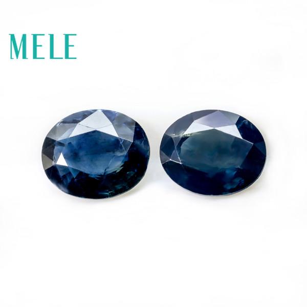 Saphir bleu naturel pierres précieuses en vrac pour la fabrication de bijoux, 5 * 6mm ovale 1.6ct 2p beaux bijoux DIYstones avec Haute qualité