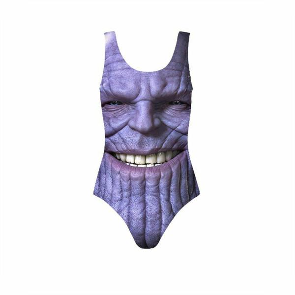 Мстители с принтом цельный купальник Thanos Bikini Beachwear Thong Купальные костюмы