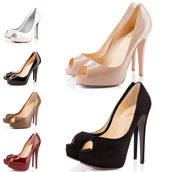2019 Yeni Tasarımcı Yüksek Topuklu Patent Deri Sivri Burun Kadın Kırmızı Altları Pompaları 12 CM 14 CM Gelinlik Ayakkabı Dans Parti 36-42