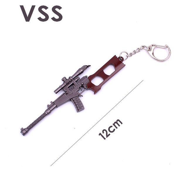 12CM PUBG Mini Model Metal Arms Keychains 98K AWM AK Toy Gun Key Ring Car Purse Pendant Key Chains Holder Trinkets Gift Bag Charm 300pcs/l