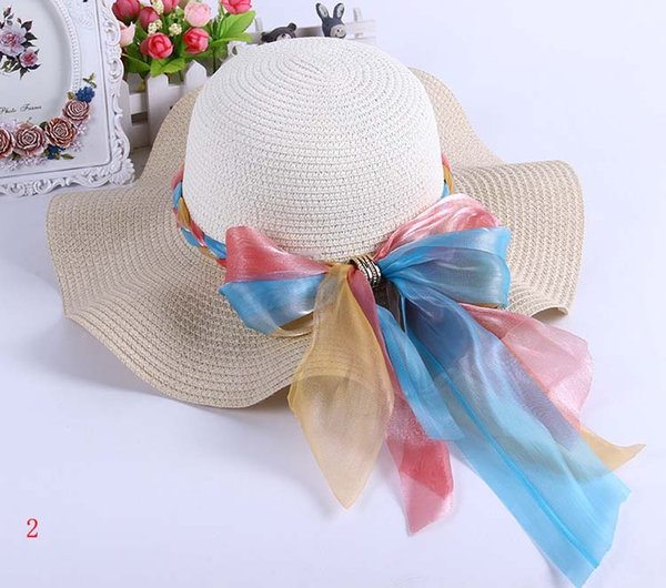 Fashion Summer Women/Ladies Large Straw Lace Hat Big Bow Beach Sun Caps Wide Brim Visor Derby Hats Of Girls Hiking Wide Brim Hats ZJ-M02