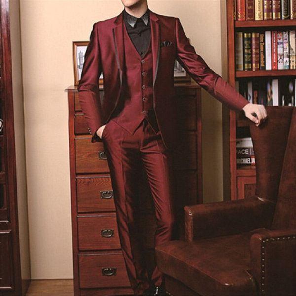 Custom Morning Style Groom Tuxedos burgundy Groomsman Men's Wedding Suits Bridegroom Tailcoat men suit (Jacket+Pants+Tie+Vest)