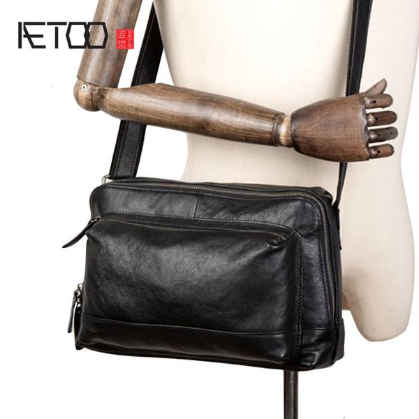 BJYL Yeni basit kafa katman deri crossbody çanta Casual erkek deri crossbody çanta omuz