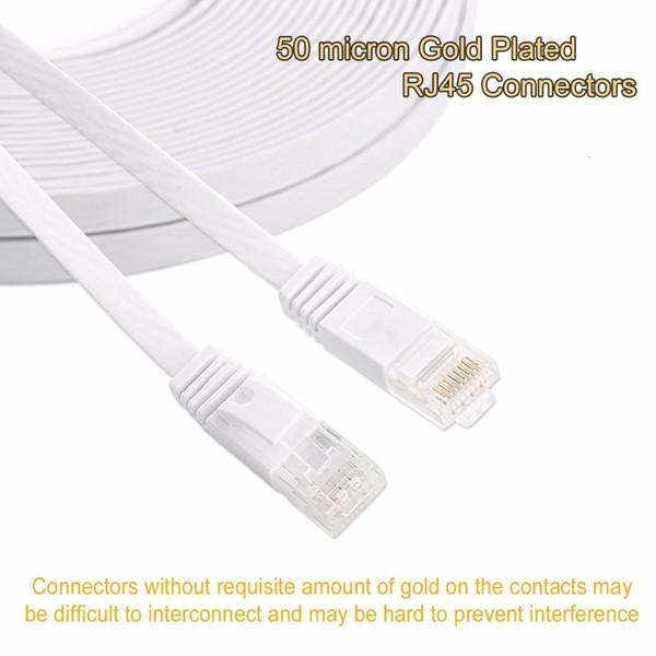 Cavo 30m 25 centimetri 3ft1.5ft 1m 2M 3m 10ft 5m 10m 15m 20m cavo CAT6 piatto della rete di UTP cavo Ethernet RJ45 Patch LAN nero colore bianco