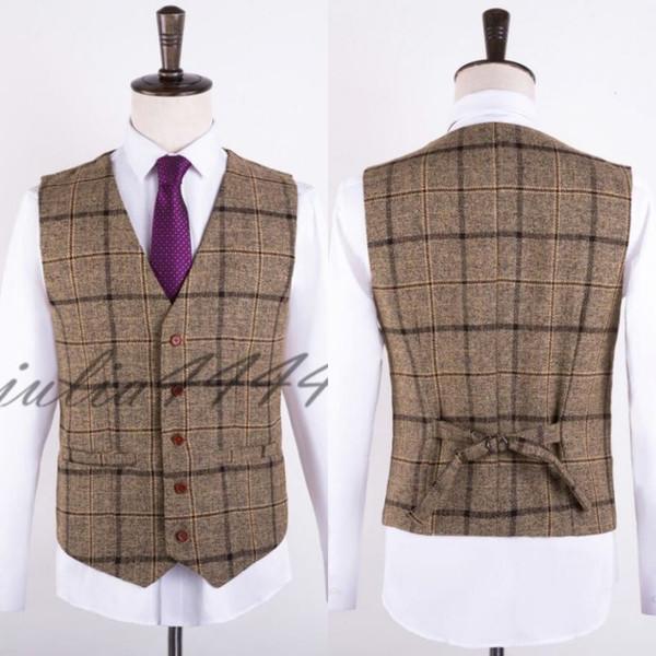 2019 Farm Wedding Brown Nylon Vests Custom Made Groom Vest Slim Fit Mens Suit Vest Prom Wedding Waistcoat Plus Size