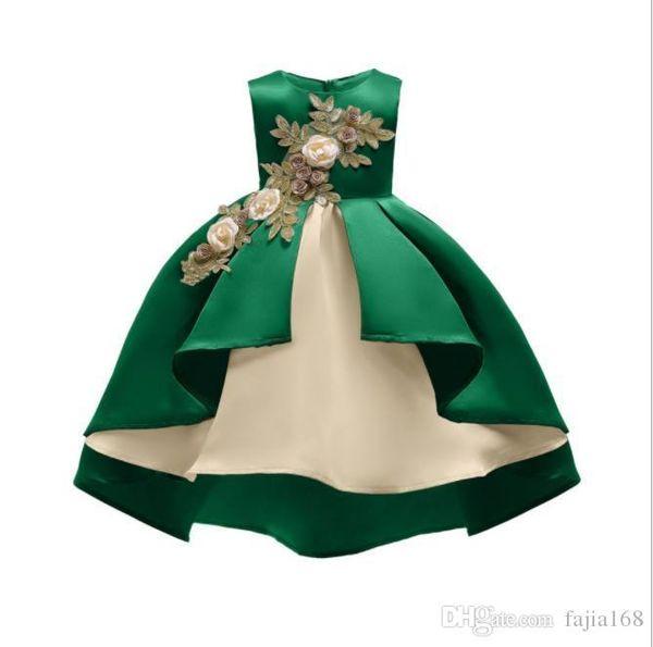 2019AAA European and American fashion princess dress bow flower girl dress skirt gold thread embroidery girl cotton dress 100-150