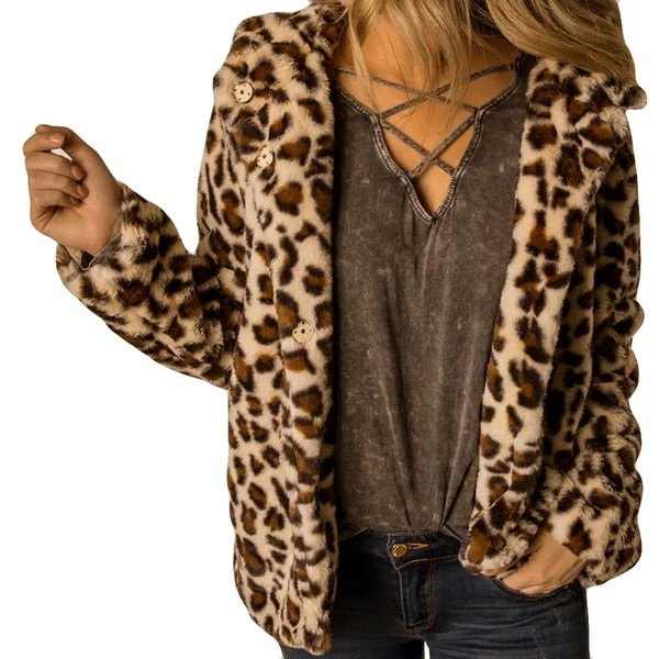 Hot Sale High Quality Casual Fashion Women Button Coat Fluffy Leopard Tops Hooded Pullover Loose Sweater Coats Women Winter