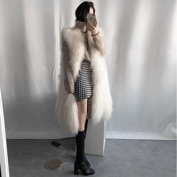 2018 Fashion Thick Warm Jacket Female Long Faux Fur Vest Women Winter Coat Casual Plus Size Faux Fox Fur chalecos para mujer 3XL