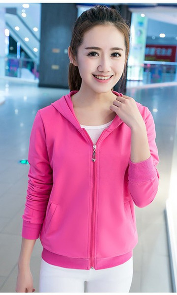 2019 spring and autumn collection new Korean version women's dress candy color hooded long sleeve coat