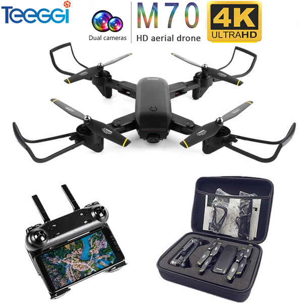Teeggi m70 rc drone with camera hd 4k camera 1080p fpv elfie dron quadcopter profe ional v e58 vi uo x 809hw x 809 drone t190621