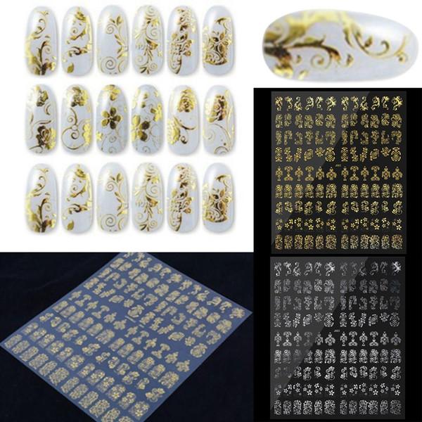 Gold Nail Sticker Water Applique Metal Hybrid Design 3D Sticker Flower Nail Set Bronze Applique Art Deco