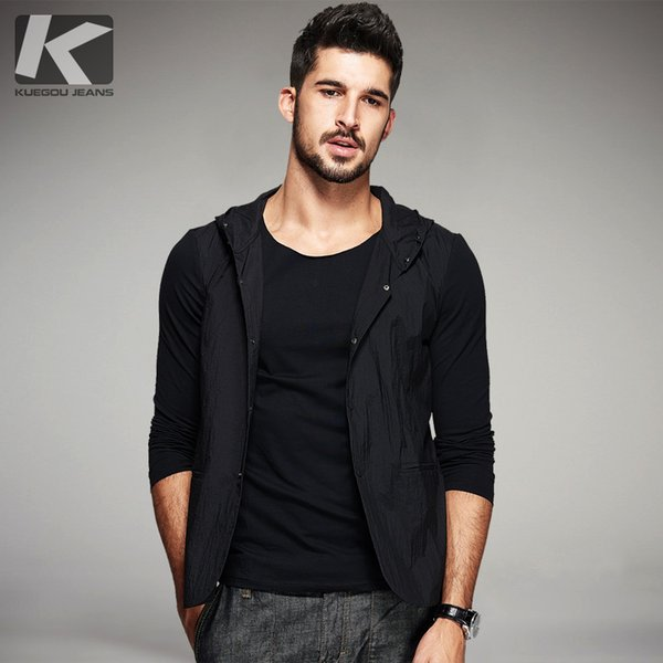 KUEGOU Autumn Mens Casual Hoodies Thin Patchwork False Two Pieces Black Color Brand Clothing Man's Slim Cardigan Clothes 80113