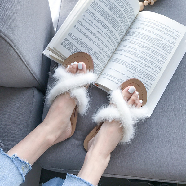 2020 New Summer Home Cotton Plush Slippers Women Indoor Floor Flat Slides Shoes Plush Furry Summer Sweet Ladies Flat Slippers
