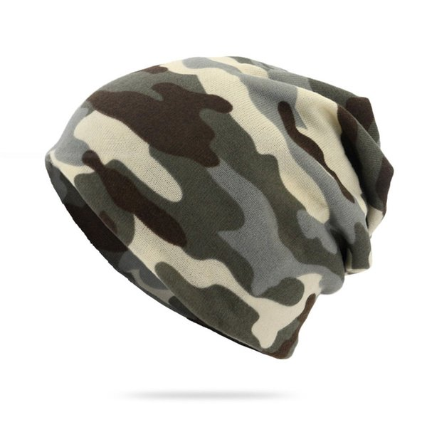 New Fashion Mens Camo Beanie Hat Cool Snap Backs Neck Scarf Double Use for Spring Winter Hats High Quality Women's Knit Beanie Hats