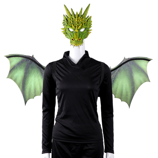 Devil angel wings vampire dragon dinosaur mask wings adult kids fancy costume props cosplay Halloween carnival purim props