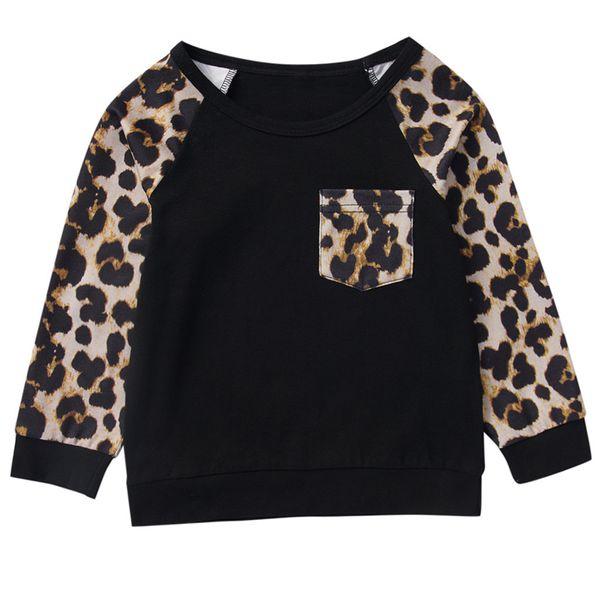 Çocuk Giyim T Shirt Çocuk Uzun Kollu Cep Leopar En Bebek Bebek Boys Kız Ç Boyun Cep Leopard Baskı Tops yazdır