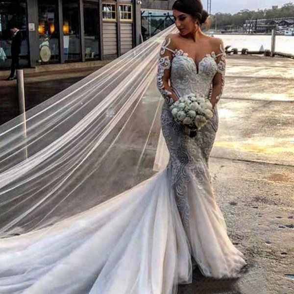 2019 Vintage Mermaid Wedding Dresses Sheer Jewel Neck Long Sleevess Tulle Lace Appliques Beach Court Train Plus Size Custom Bridal Gowns