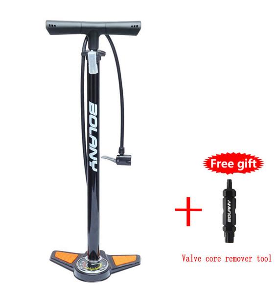 Bomba de piso para bicicleta, bomba de alta presión para bicicletas Bomba de neumático para bicicleta Compatible con la válvula Presta Schrader, con manómetro, 160 PSI, incluye núcleo de válvula