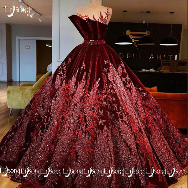 Burgundy Luxury Beaded Appliques Dubai Lebanon Evening Formal Dresses Winter Party wear Maxi Gowns Vestido de festa Custom Made Powerful