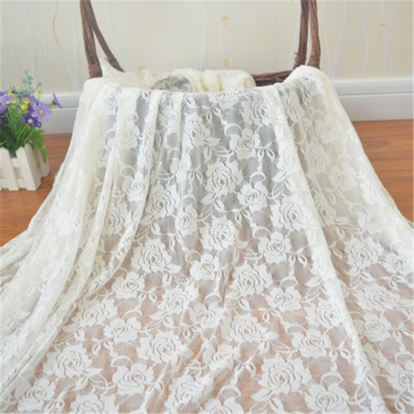 Blace Rose Silk Lace Fabric Curtain Cloth Wedding Props Dessert Table Cloth Christmas Birthday Party Decoration White