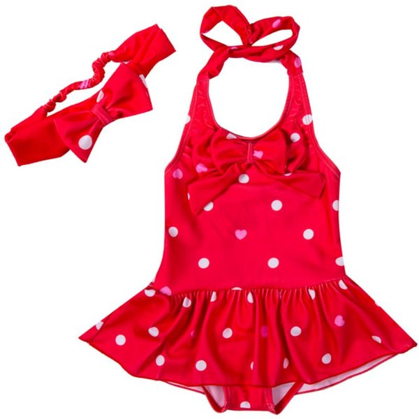 1 To 8 Years One Piece Suits Kids Girls Swimwear Baby Girl 2pcs Printing Dot Tankini Bikini Set Swimsuit Bathing Suit Beachwear