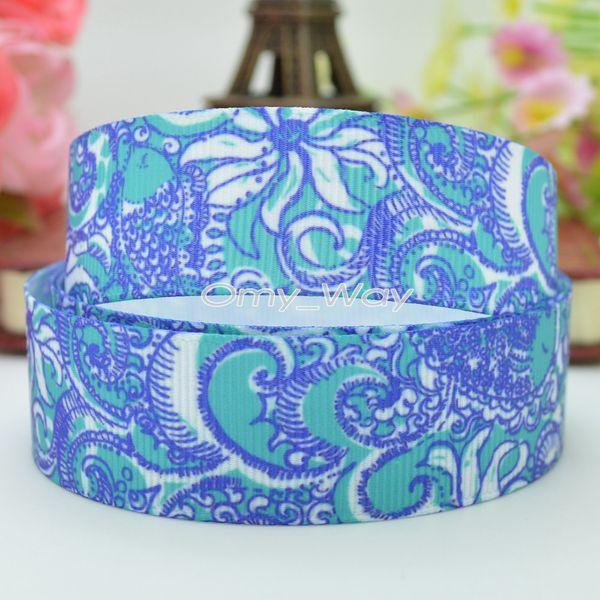"Lilly Ribbons 7/8"" 22mm Sea Flower Printed Grosgrain Ribbon Hair Bow DIY Handmade Crafts Gift Ribbon Print 50Yards"