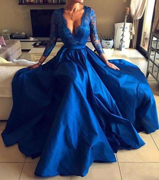Women Formal Evening Dresses Party Gowns V Neck Lace Appliques Long Sleeve Front Split Prom Dresses