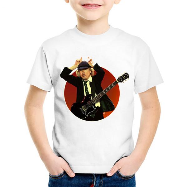 Fashion Print AC/DC Band Rock Children T-shirts Kids Heavy Metal Summer Tees Boys/Girls Casual Great Tops Baby Clothing,HKP408