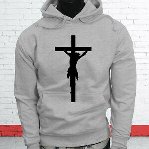 LOVE JESUS CROSS RELIGION CHURCH CHRISTIAN ART Mens Gray Hoodie