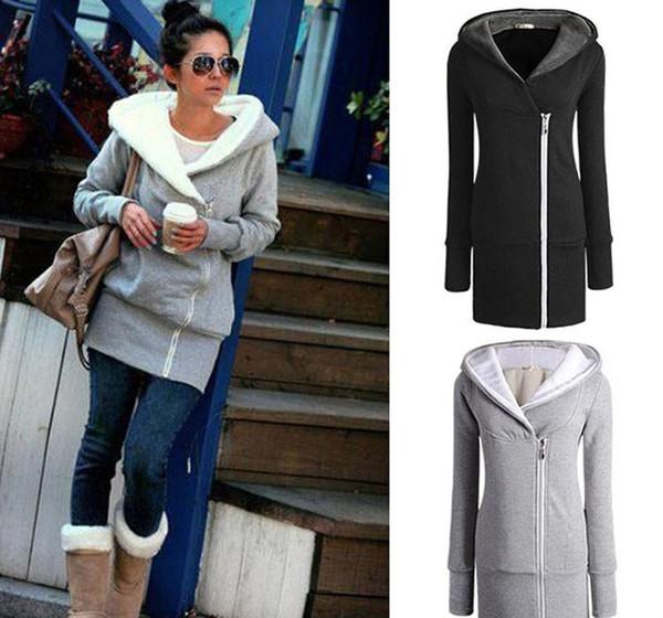 Hot Sale fashion Womens autumn winter Long Zip Tops Hoodie Coat Jacket Outerwear women coat Drop shipping