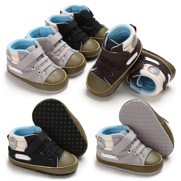 Newborn Baby Shoes Canvas Winter Soft Bottom Boys Shoes First Walkers 0-18M Canvas Color Matching Casual Boys