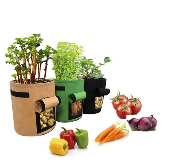 Felt Non-woven Nursery Bags Plant Potato Grow Bag Fabric Seedling Pot Reusable Vegetables Grow Pots Felt Flower Seedling Bags GGA2146