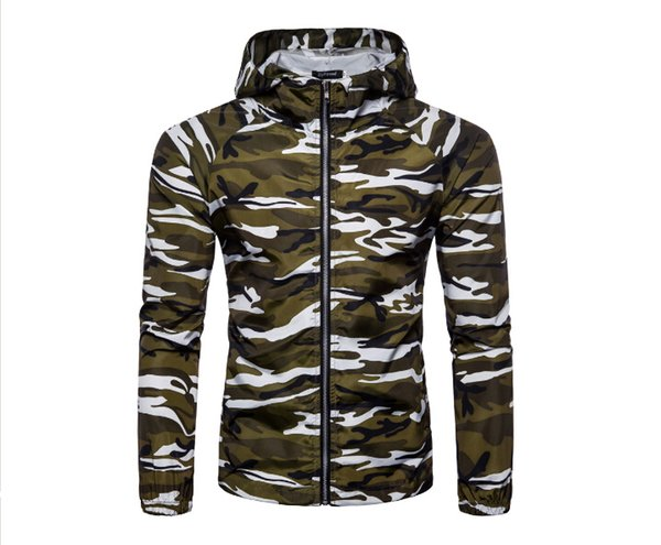 Men Thin Zipper Sun Protection Coat Spring Autumn Fashion Camouflage Printed Long Sleeve Men Jackets Hooded Jacket