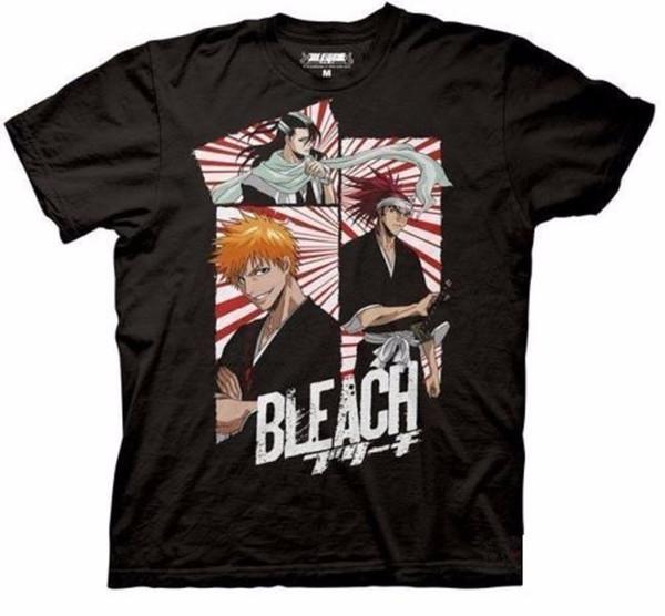 Bleach 3 Panel Máscara Ichigo Renji Byakuya Anime Licencia Adulto Camiseta Camiseta de dibujos animados de los hombres Unisex Nueva Moda camiseta