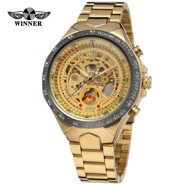 Ganador Nuevo número Diseño deportivo Bisel Reloj dorado Relojes para hombre Marca de lujo de lujo Reloj Montre Homme Hombres Reloj esqueleto automático