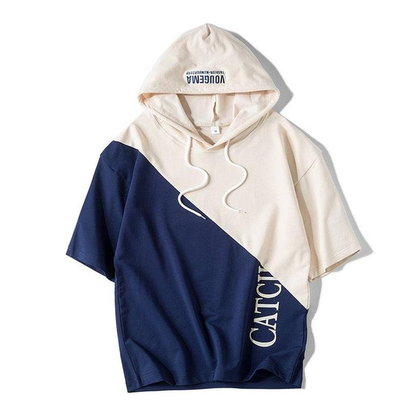 new patchwork hooded short sleeve hoodies casual breathable men t shirt loose streetwear summer  four colour men