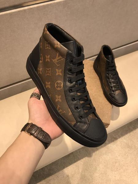 2019a осень новая мужская кожаная повседневная обувь Tide, спортивная обувь высокого класса, оригинальная упаковка, размер: 38-44