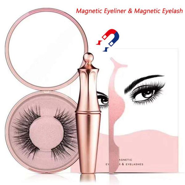 2019 Newest !! Magnetic Eyeliner Kit Magnetic Eyeliner With Magnetic Eyelashes False Eyelashes Applicator Tool Reusable False Eyelashes Set