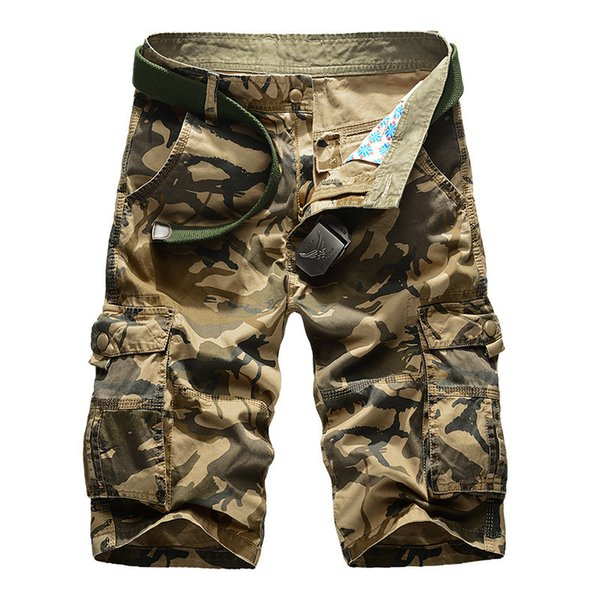 Camouflage Cargo Men 2019 New Mens Casual Male Loose Work Shorts Man Military Short Pants Plus Size 29-44 No Belt C19041303